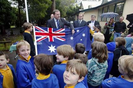 Australian Students with Flag